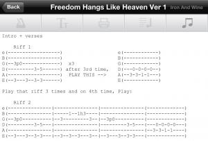 Freedom Hangs Like Heaven Tab