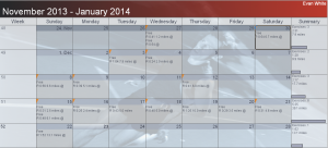 Calendar for Week 51